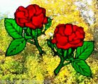 ROSE pair, WINDOW CLING STAINED GLASS EFFECT DECORATION in ANY COLOUR,DECALS