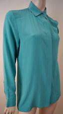 MAJE Aqua 100% Silk Collared Long Sleeve Formal Blouse Shirt Top Sz2; M BNWT
