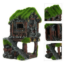 Aquarium Decorations Ancient House With Moss Fish Tank Landscape Resin Ornament