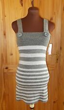 PILOT grey silver metallic striped knitted jumper dress tunic top BNWT 10 12 14
