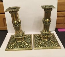 Antique Victorian Corinthian Column Candlesticks Cherubs Roses Highly Detailed