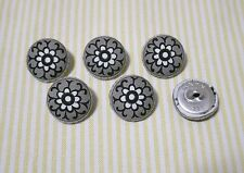 6 White Flower with Gray Fabric Covered Buttons - 20mm