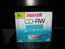 MAXELL CD-RW ,80 MIN,700 MB,NEW,SEALED,10 PK
