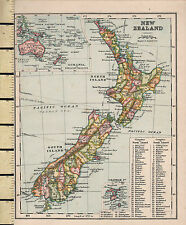 c1880 VICTORIAN MAP ~ NEW ZEALAND NORTH & SOUTH ISLANDS ~ INSET OCEANIA
