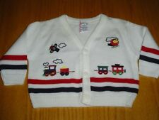 CHRISTMAS TRAIN PLANE WHITE SWEATER  INFANT BOYS 6 MO  ACRYLIC GREAT CONDITION