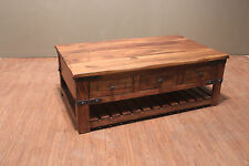 Crafters and Weavers Rustic Solid Wood Coffee Table with Drawers on both sides