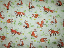 FOX FORREST FOXES LEAVES CREAM COTTON FABRIC BTHY