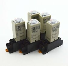 5Pcs H3Y-2 AC 220V Delay Timer Time Relay 0 - 60 Minute with Base