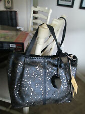 Patricia Nash Laser Lace Zola BLACK Leather Tote  Crossbody Purse NWT/269.00