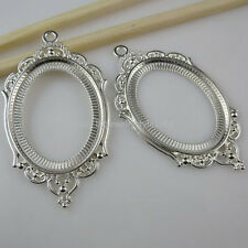10834 5X Silver Tone Oval Frame Holder Base Inner 40x30mm Cameo Setting Pendant