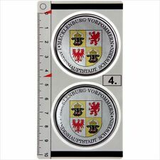 Mecklenburg set of 2 German Number Plate Seal Stadt 3D Domed Sticker Badge
