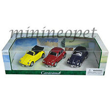 CARARAMA 35309 VW VOLKSWAGEN BEETLE 1/43 DIECAST 3 CARS SET BLUE / RED / YELLOW