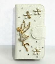 Diamond Bling Crystal 3D Angel Leather Flip Card Wallet Case Cover For HTC Phone