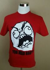 You Mad Bro? sz Medium T-Shirt Red 2 Monkeys Meme Troll Face Sherman Seahawks