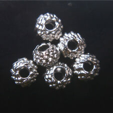 100pcs 6*4mm Beads Tibet Silver Charms DIY Jewelry Bead Round Spacer Bead A7005