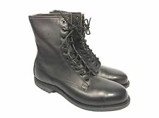 Vintage Addison Military Flight Deck Combat Boots Men's 9 Black Leather Nice!!