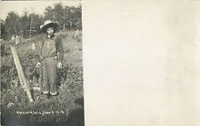 """""""Chained To The Fence Pole"""", Harshaw Wisconsin WI RPPC 1912"""