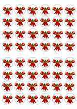 48 MINI CHRISTMAS RED BOWS CUPCAKE TOPPER WAFER RICE EDIBLE FAIRY CAKE  TOPPER