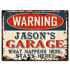 PPFG0024 WARNING JASON'S GARAGE Tin Chic Sign man cave Decor Funny Gift