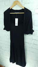New Designer French Connection Knitted Short Sleeve Dress sz 8 uk in Black