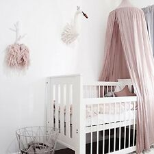 Canopy Bed Netting Mosquito Bedding Net Baby Kids Reading Play Tents Cotton Pink