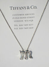Tiffany & Co Elsa Peretti Alphabet Sterling Silver Letter Initial M Necklace