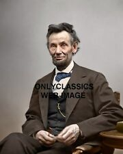 1865 UNITED STATES PRESIDENT ABRAHAM LINCOLN COLORIZED PHOTO RAZOR SHARP DETAIL
