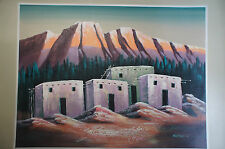 Old Adobe Houses in Mountain Side Western Signed Montana Large Painting 4' x 5'