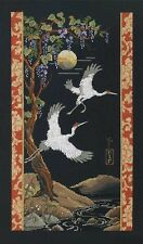 Cranes on Black Cross Stitch Kit Platinum Collection Janlynn NEW asian oriental