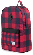 NWT HERSCHEL CO. HERITAGE BACKPACK BUFFALO PLAID RED BLACK CHECK BAG KNAPSACK