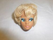 Vtg Old Barbie Doll Head Blonde Bubbble Cut Blue Eye Makeup Repair Parts