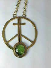 """Rafael Canada Brass """"Peace Sign"""" Green Glass Stone Pendant UNUSED & NOT SIGNED"""