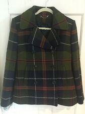 J.CREW WOMENS GREEN BLUE TARTAN PLAID WOOL BUTTON PEA COAT JACKET S NWOT