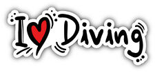 I Love Diving Car Bumper Sticker Decal 6'' x 3''