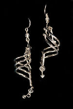Music Staff Note Silver Plated Drop Earrings