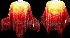 Poncho Shawl Top Hand Dye Red & Gold Ombre Silk Burnout Velvet Maya Matazaro