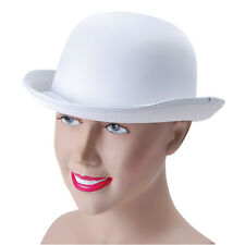 WHITE #BOWLER HAT SATIN LOOK CHARLIE CHAPLIN CABARET ADULT FANCY DRESS ACCESSORY
