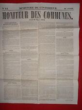 JOURNAL LE MONITEUR DES COMMUNES MINISTERE DE L'INTERIEUR N°12 - 21 MARS 1861