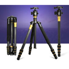 Q-999C Pro Carbon Fiber Tripod Monopod & BallHead Compact Travel For DSLR Camera