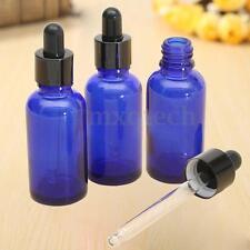 3x 1oz Cobalto Vidro Botella Aceite Perfume Frasco Esencial Rollo Goteo 30ml