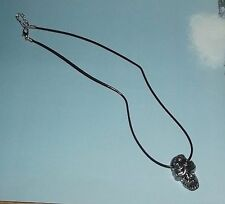 "Skull Necklace Day of the Dead 20"" long Costume Jewlery Silver Tone Metal Skull"