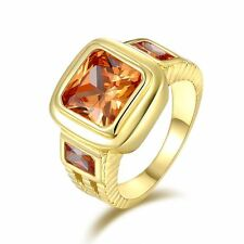 Gorgeous Gold Filled Square Champagne Gem Rings Luxury Wedding Jewelry For Men