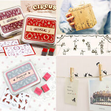 New Rubber Cute Stamps Set Tin Gift Box Creative Designs Stamp Circus Cartoon