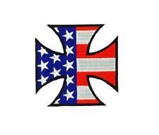 Toppe Patch toppa termoadesiva moto biker croce di malta bandiera americano usa
