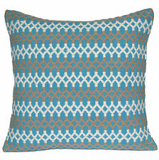"Handmade Kilim Cushion Cover 20"" 50cm Cotton Indian Persian Moroccan Aqua White"