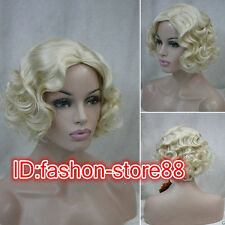 2015 Ladies Classy Vintage Short Blonde Curly Wavy-Style Women Cosplay Wig/Wigs