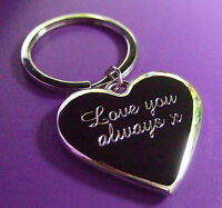 Personalised Engraved Polished Silver Love Heart Keyring with Organza gift bag