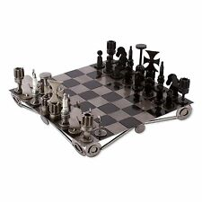 Metal Chess Set Auto Parts Handmade 'Recycling Challenge' NOVICA Mexico