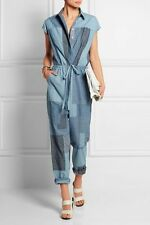 3.1 Phillip Lim Jumpsuit Patchwork Denim SZ 4 Cotton