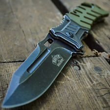 "8"" SPRING ASSISTED OPEN Tactical Blade FOLDING POCKET KNIFE Army Green Switch"